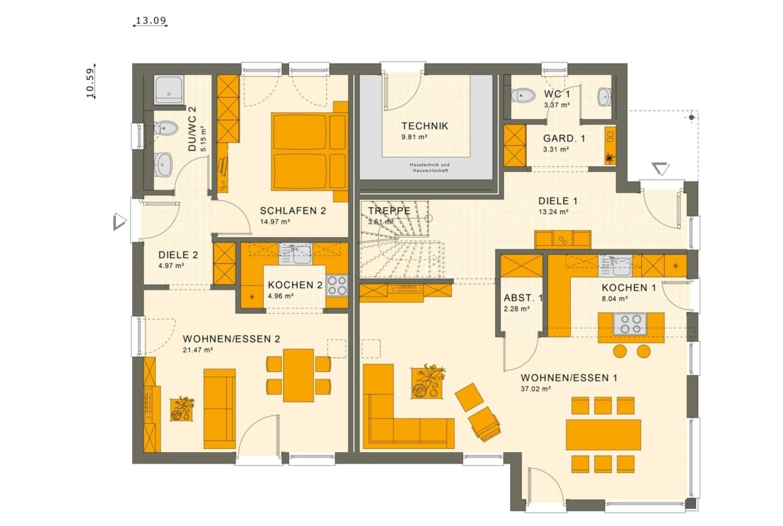 Grundriss Einfamilienhaus mit Einliegerwohnung Erdgeschoss - Haus bauen Ideen Fertighaus SOLUTION 230 V2 von Living Haus - HausbauDirekt.de