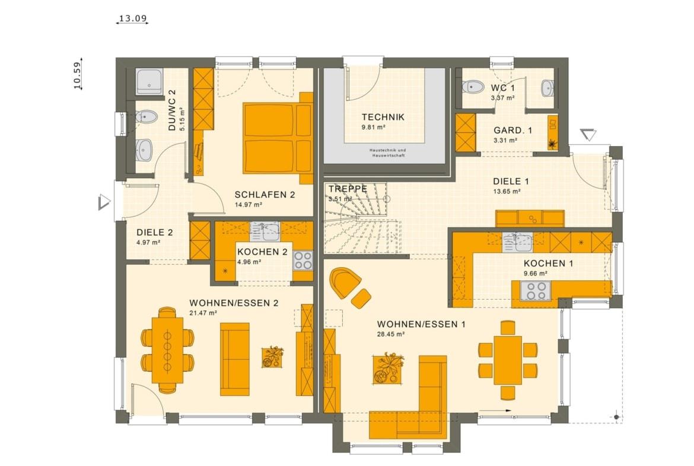 Einfamilienhaus mit Einliegerwohnung Grundriss Erdgeschoss - Haus bauen Ideen Fertighaus SOLUTION 230 V4 von Living Haus - HausbauDirekt.de