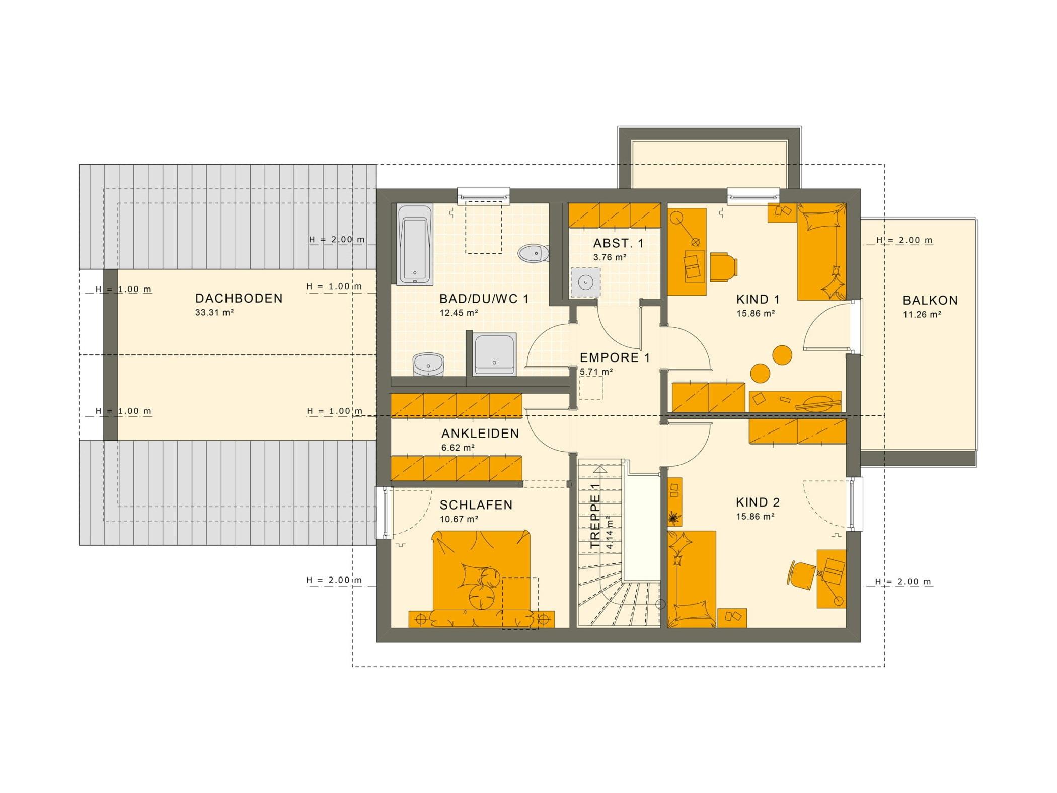 Grundriss Einfamilienhaus mit Einliegerwohnung Dachgeschoss, 7 Zimmer, 180 qm - Fertighaus schlüsselfertig bauen Ideen Living Haus SOLUTION 183 V4 - HausbauDirekt.de