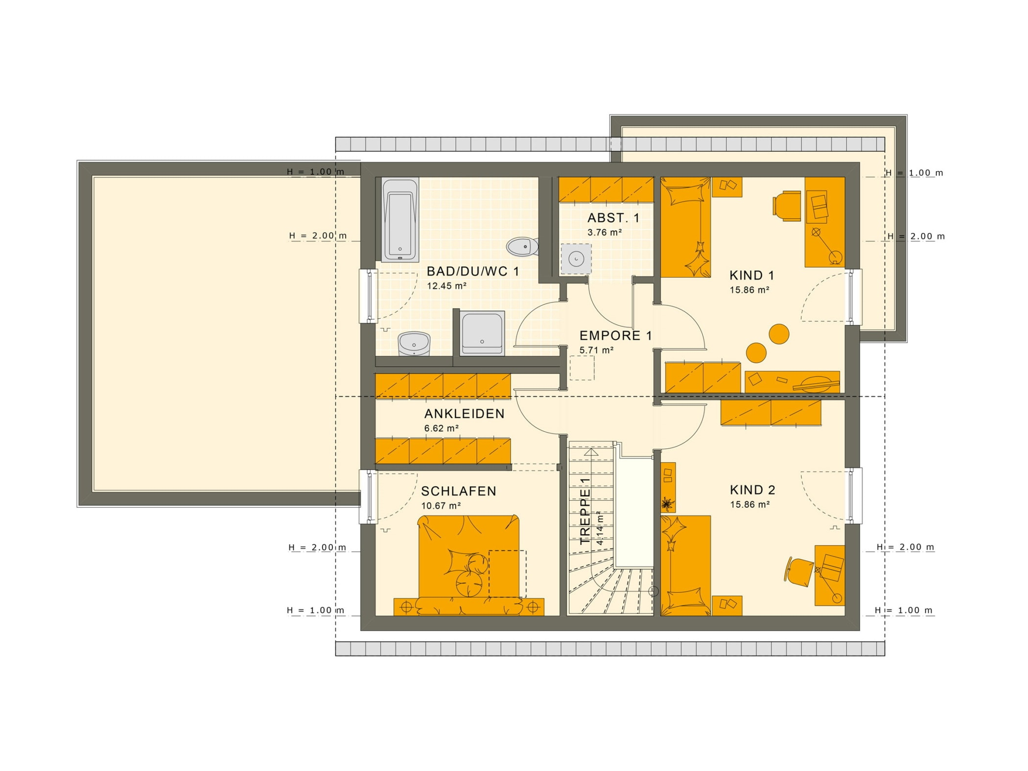 Grundriss Einfamilienhaus mit Einliegerwohnung Obergeschoss, 6 Zimmer, 180 qm - Fertighaus bauen Ideen Living Haus SOLUTION 183 V3 - HausbauDirekt.de