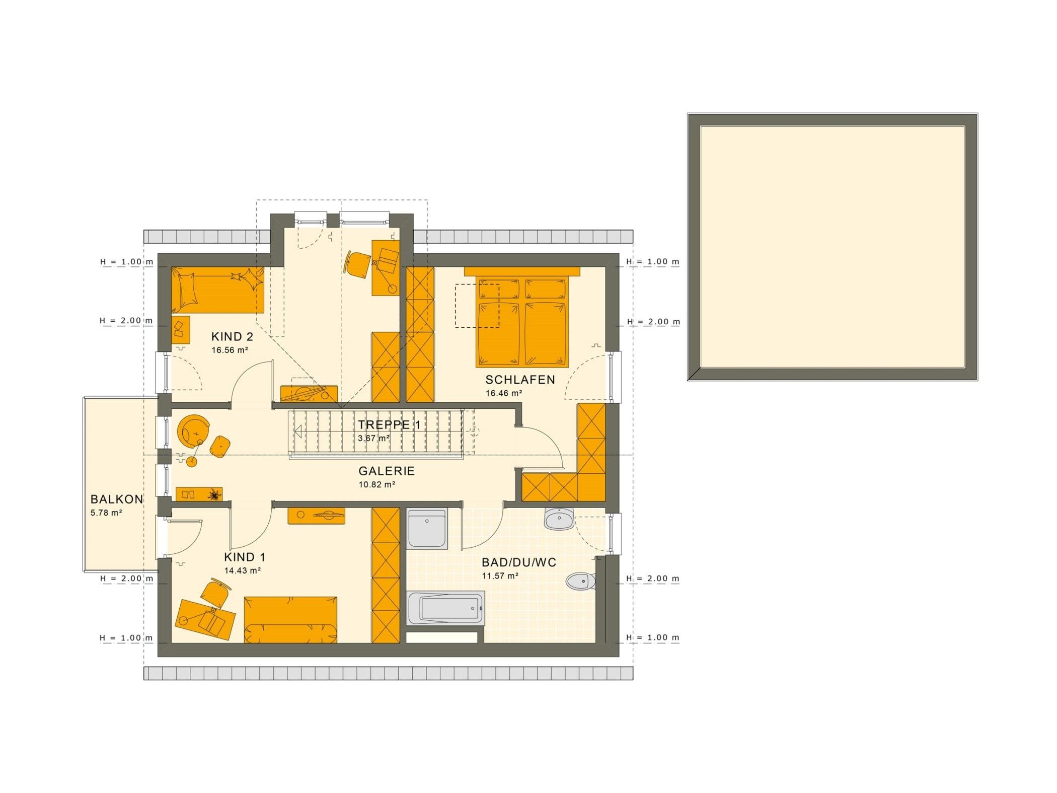 Grundriss Einfamilienhaus Obergeschoss mit Satteldach & Galerie - Fertighaus Living Haus SUNSHINE 144 V3 - HausbauDirekt.de