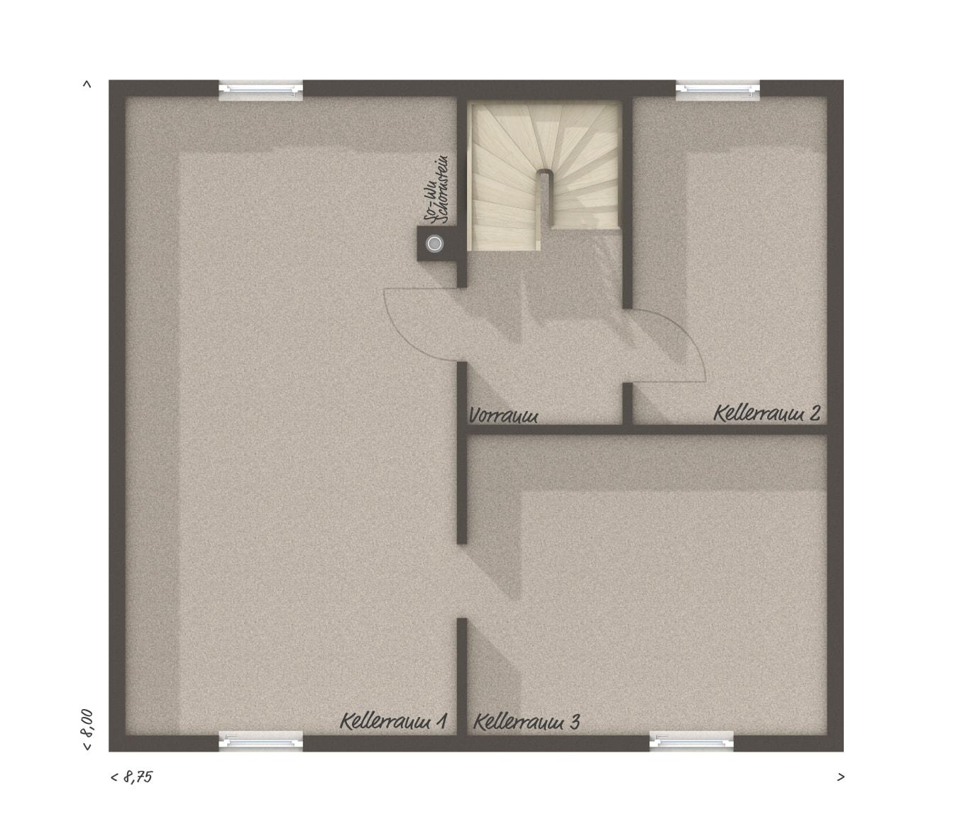 Grundriss Einfamilienhaus Keller - Massivhaus Raumwunder 100 Süd von Town & Country Haus - HausbauDirekt.de