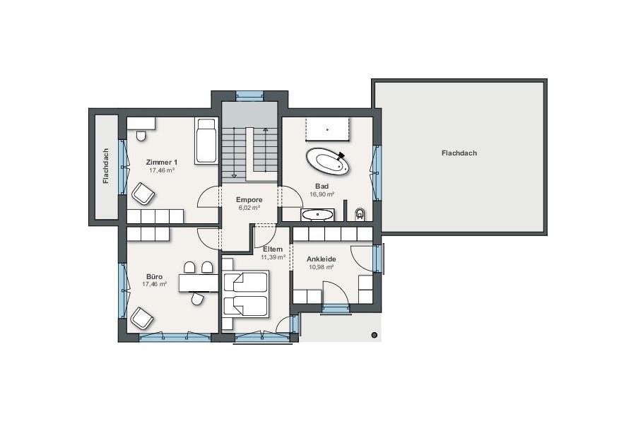 Grundriss Einfamilienhaus mit Walmdach, Obergeschoss - Fertighaus bauen Ideen WeberHaus City Life Haus 250 - HausbauDirekt.de