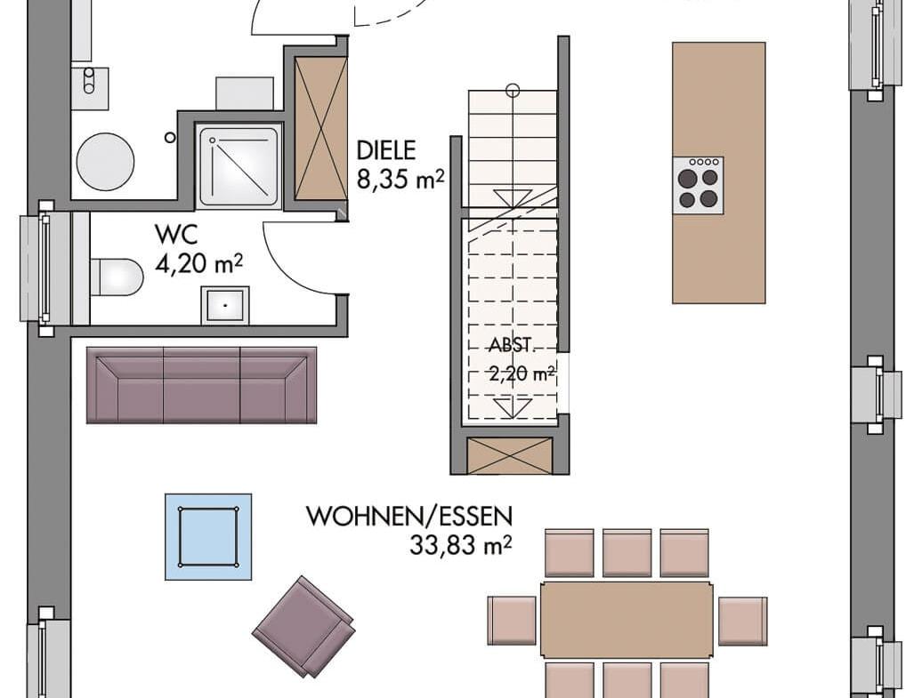 Einfamilienhaus Grundriss Erdgeschoss offen & gerade Treppe mittig - Haus Design Ideen Massivhaus Vario-Haus 160 von ECO System HAUS - HausbauDirekt.de