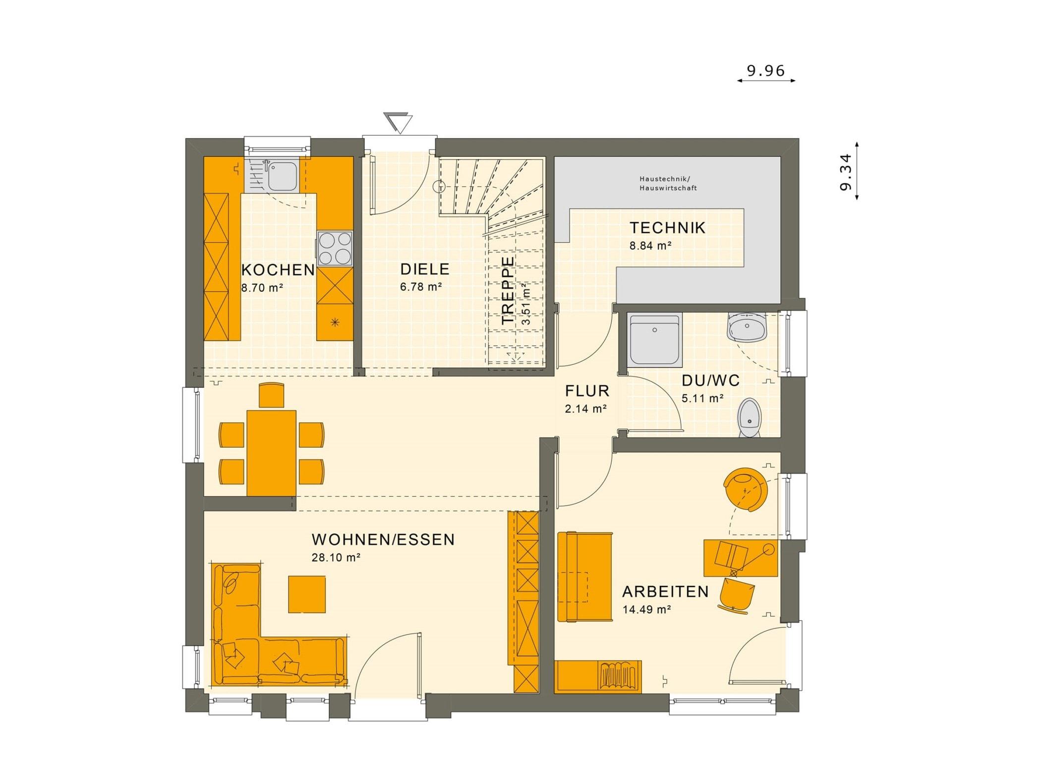 Fertighaus Grundriss Erdgeschoss quadratisch, 5 Zimmer, 150 qm - Einfamilienhaus Living Haus SUNSHINE 151 V3 - HausbauDirekt.de