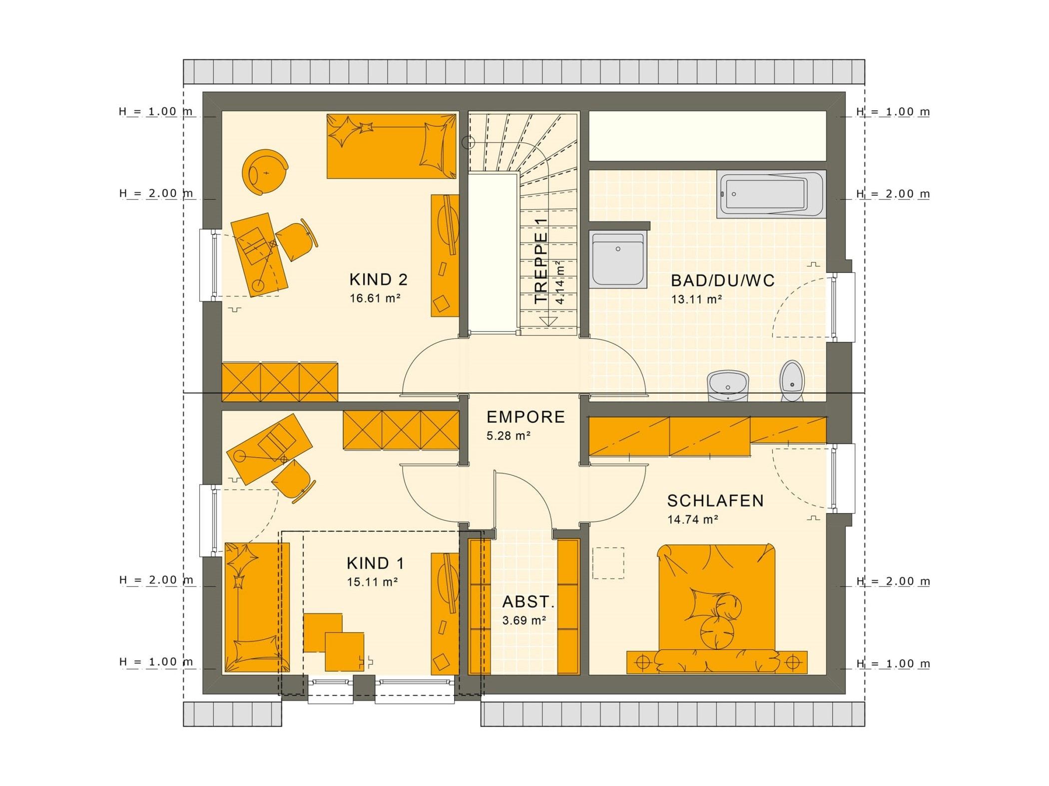 Fertighaus Grundriss Obergeschoss mit Satteldach, 5 Zimmer, 150 qm - Einfamilienhaus Living Haus SUNSHINE 151 V3 - HausbauDirekt.de