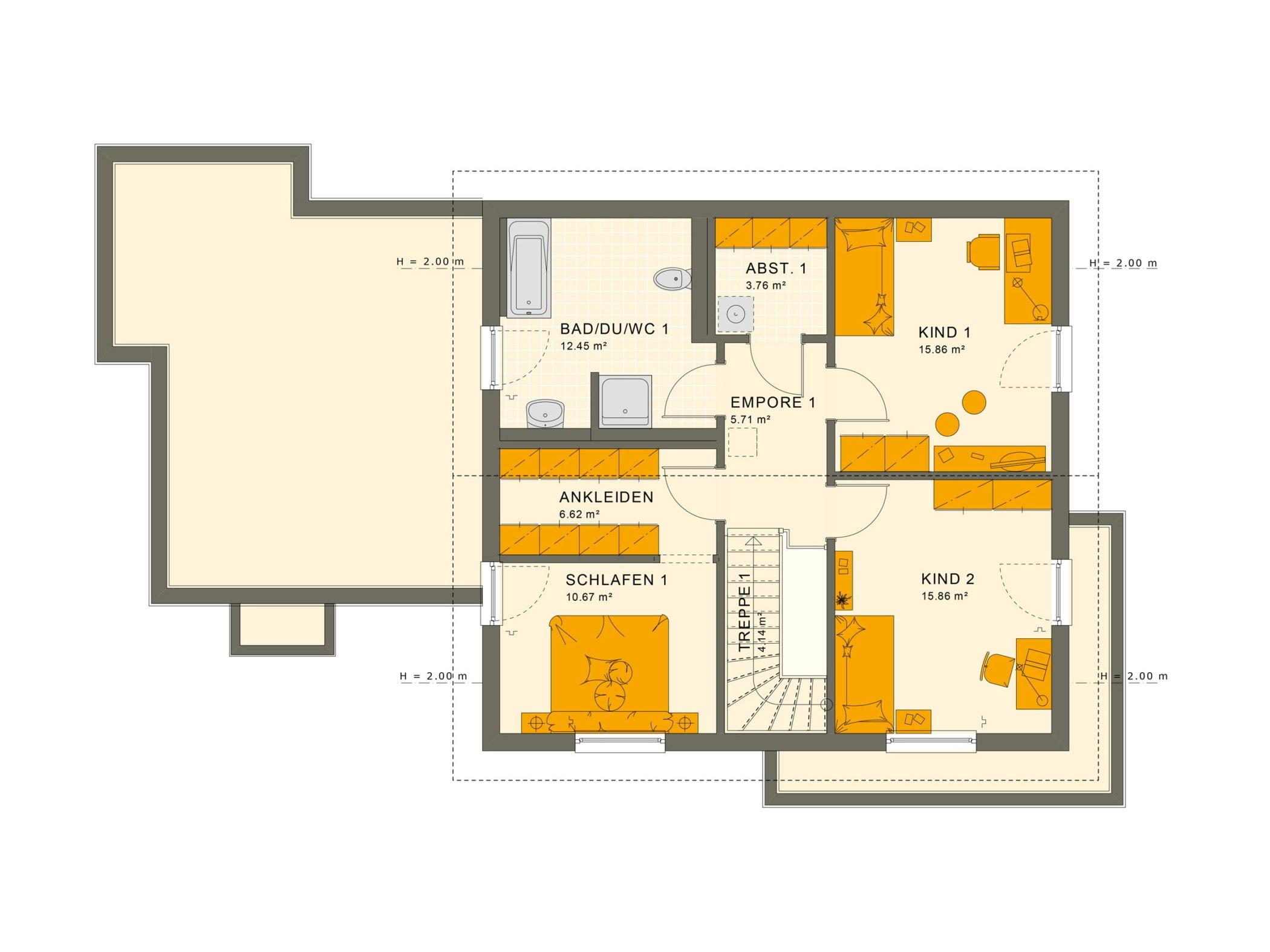 Grundriss Einfamilienhaus mit Einliegerwohnung im Anbau, Dachgeschoss - Fertighaus schlüsselfertig bauen Ideen Living Haus SOLUTION 183 V5 - HausbauDirekt.de