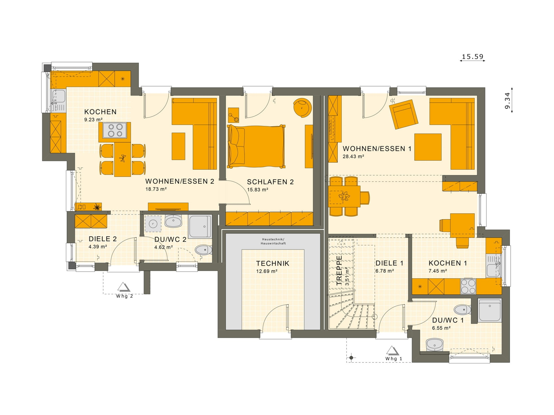 Grundriss Einfamilienhaus mit Einliegerwohnung im Anbau - Fertighaus schlüsselfertig bauen Ideen Living Haus SOLUTION 183 V5 - HausbauDirekt.de