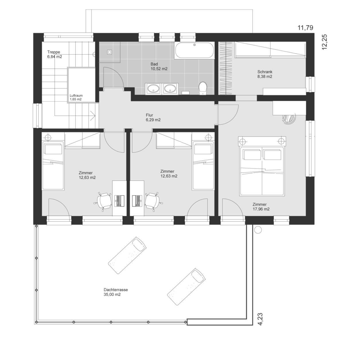 Einfamilienhaus Grundriss Obergeschoss modern mit Flachdach & Dachterrasse, 5 Zimmer, 160 qm - Haus Design Ideen Skizze Fertighaus ELK Haus 164 - HausbauDirekt.de