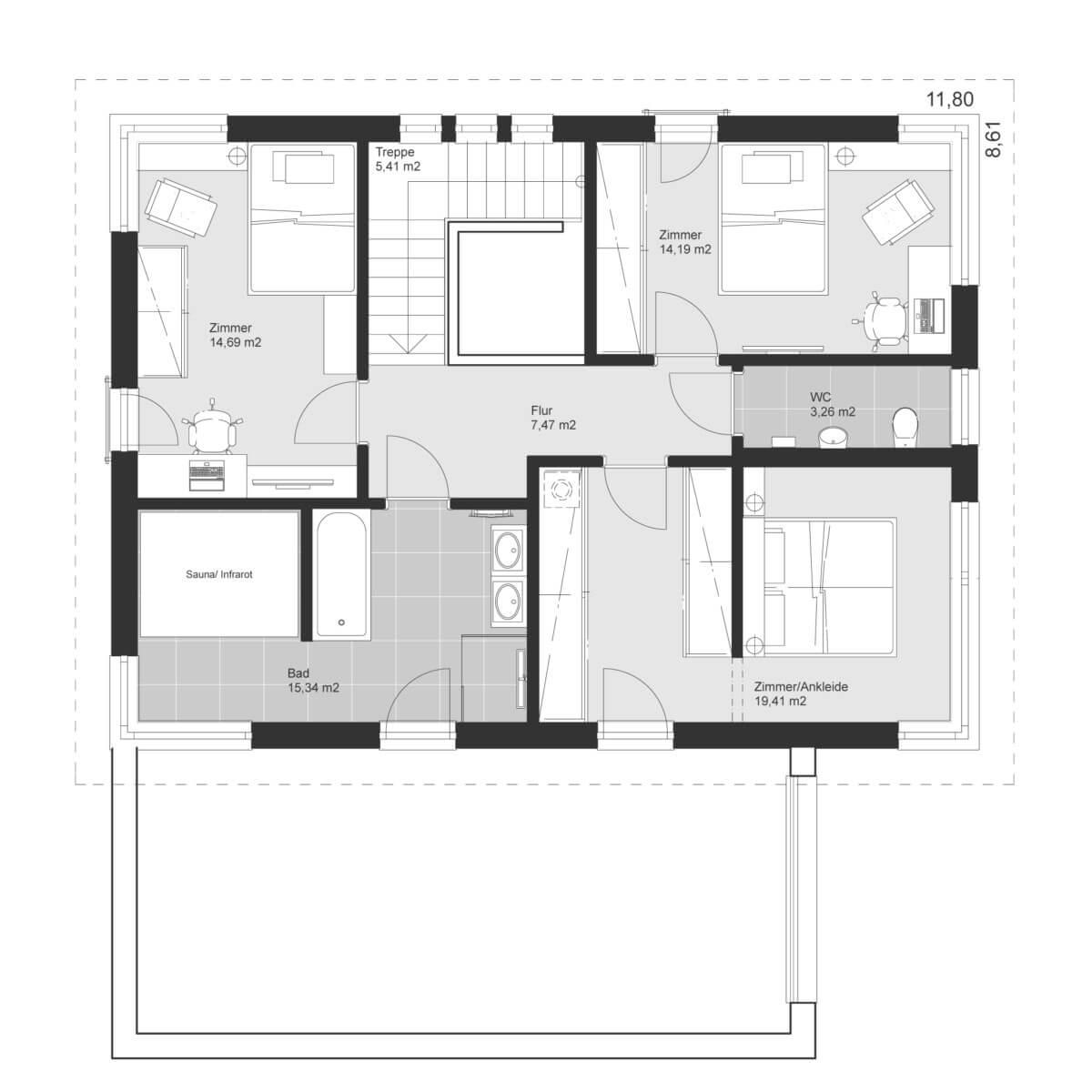 Einfamilienhaus Grundriss Obergeschoss mit Flachdach - Haus Design Ideen Fertighaus ELK Haus 186 - HausbauDirekt.de