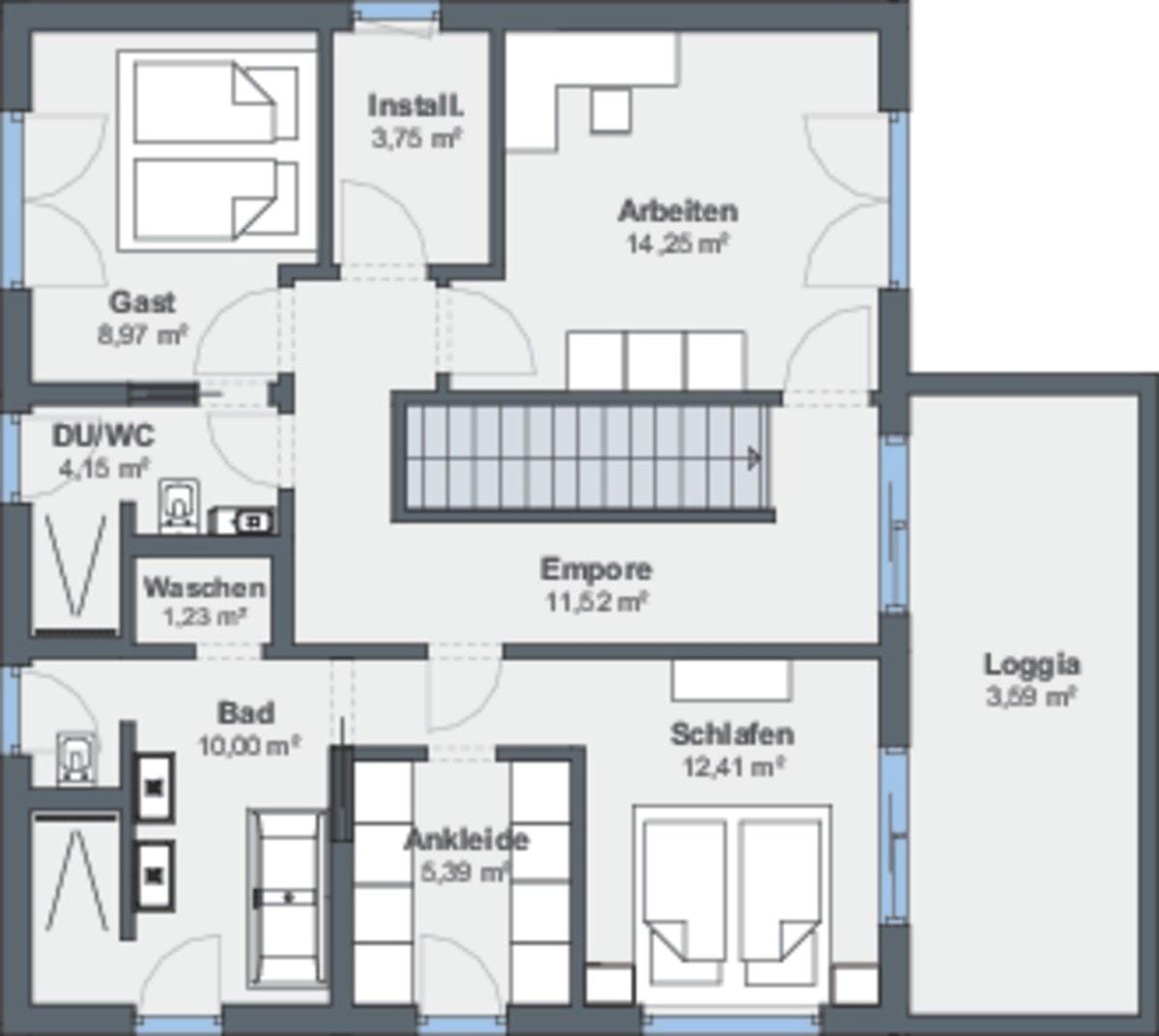 Einfamilienhaus Grundriss Obergeschoss Treppe gerade, Galerie & Pultdach - Fertighaus Design Ideen Modernes Pultdach Haus von WeberHaus - HausbauDirekt.de
