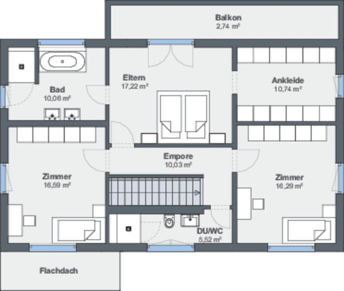 Einfamilienhaus Grundriss Obergeschoss mit Satteldach - Haus bauen Design Ideen WeberHaus Fertighaus Sunshine 310 - HausbauDirekt.de