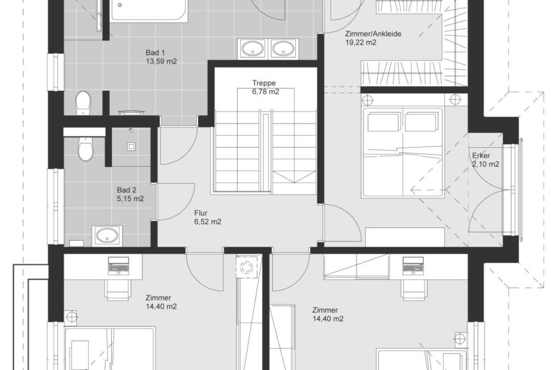 Grundriss Stadtvilla modern Obergeschoss - Einfamilienhaus bauen Ideen Fertighaus ELK Haus 161 - HausbauDirekt.de