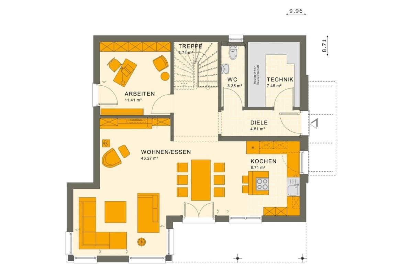 Grundriss Stadtvilla Erdgeschoss mit Erker, 5 Zimmer, 145 qm - Fertighaus bauen Ideen Living Haus SUNSHINE 143 V6 - HausbauDirekt.de