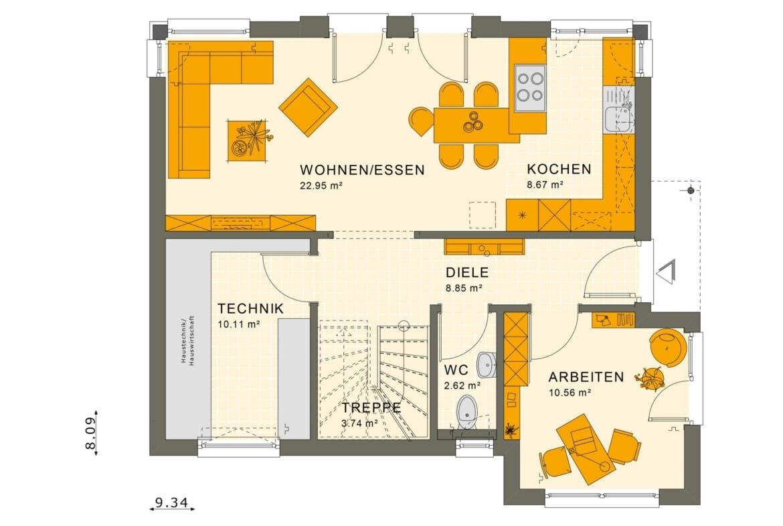 Grundriss Stadtvilla Erdgeschoss, 5 Zimmer, 125 qm - Fertighaus SUNSHINE 125 V6 von Living Haus - HausbauDirekt.de