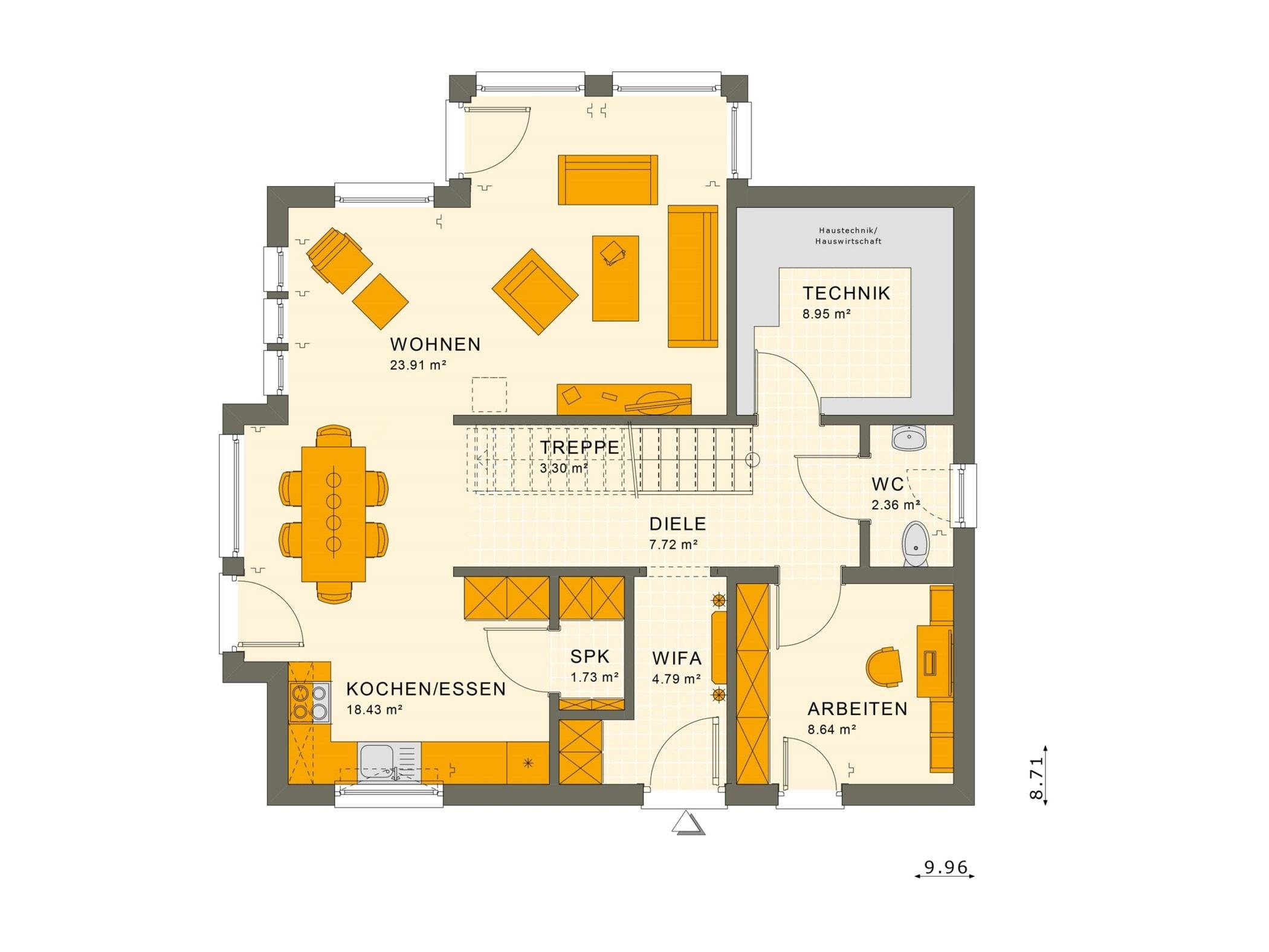 Grundriss Stadtvilla Erdgeschoss Treppe gerade & Wintergarten Erker, 5 Zimmer, 140 qm - Fertighaus Living Haus SUNSHINE 144 V7 - HausbauDirekt.de