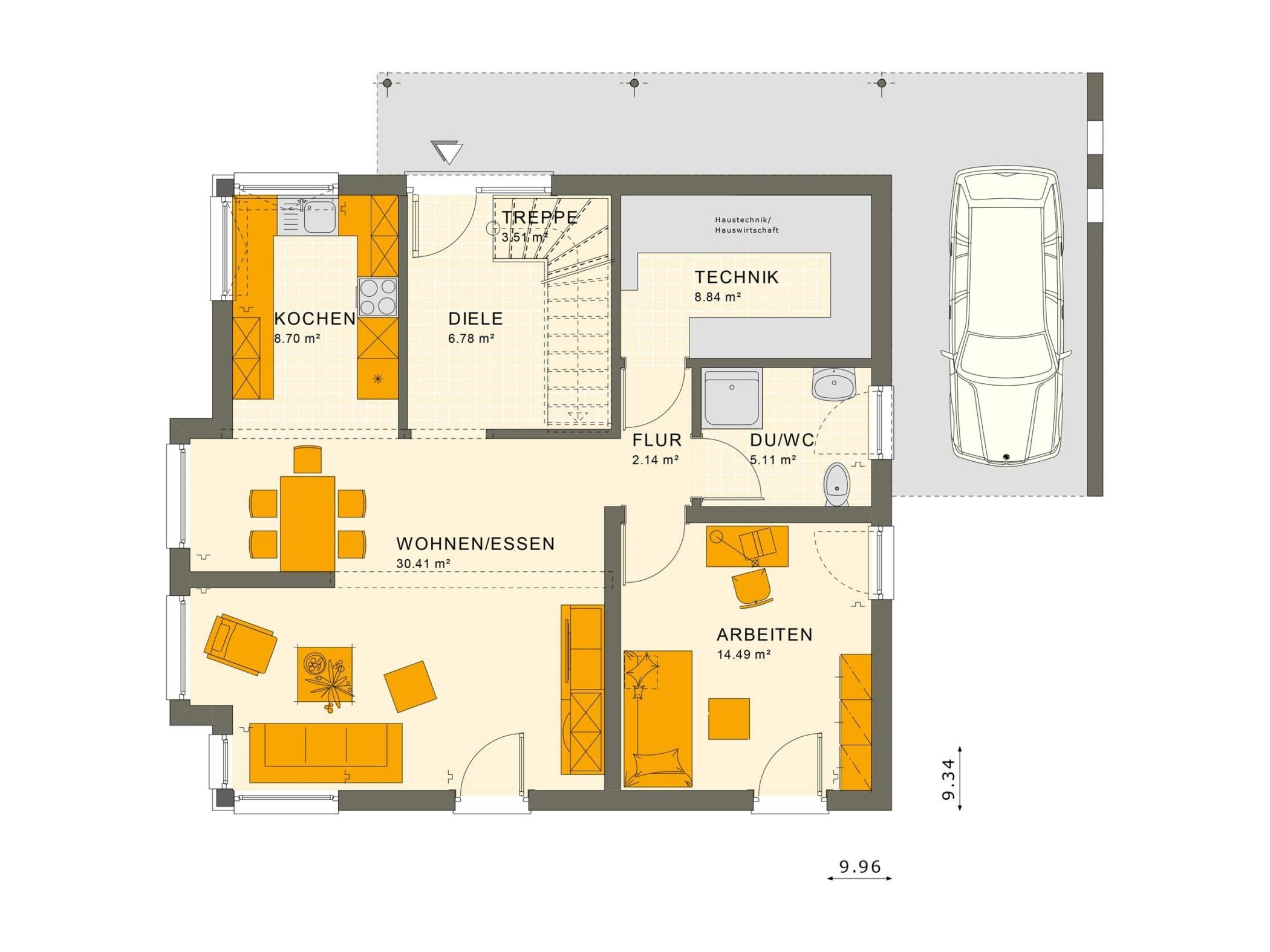 Fertighaus Stadtvilla Grundriss Erdgeschoss mit Carport, 5 Zimmer, 150 qm - Living Haus SUNSHINE 151 V6 - HausbauDirekt.de