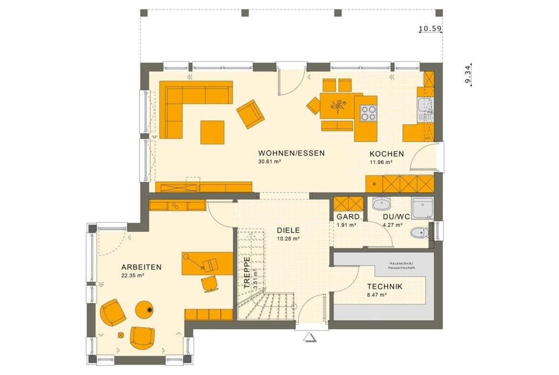 Grundriss Stadtvilla Erdgeschoss offen mit Erker, 5 Zimmer, 165 qm - Fertighaus SUNSHINE 165 V7 von Living Haus - HausbauDirekt.de