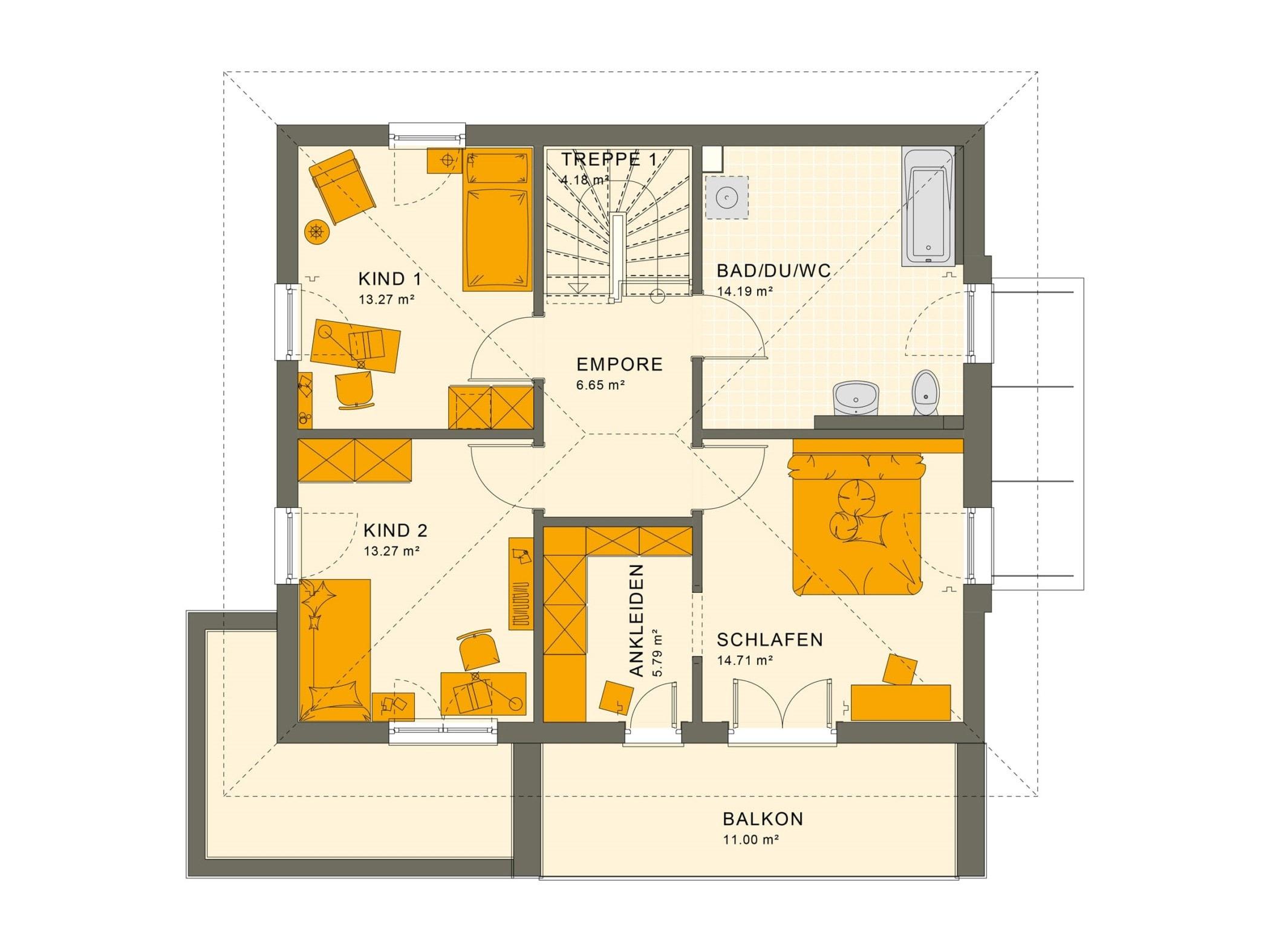 Grundriss Stadtvilla Obergeschoss mit Walmdach & Balkon, 5 Zimmer, 145 qm - Fertighaus bauen Ideen Living Haus SUNSHINE 143 V6 - HausbauDirekt.de