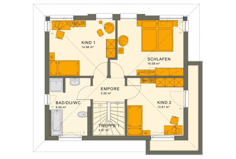 Grundriss Stadtvilla Obergeschoss mit Walmdach, 5 Zimmer, 125 qm - Fertighaus SUNSHINE 125 V6 von Living Haus - HausbauDirekt.de