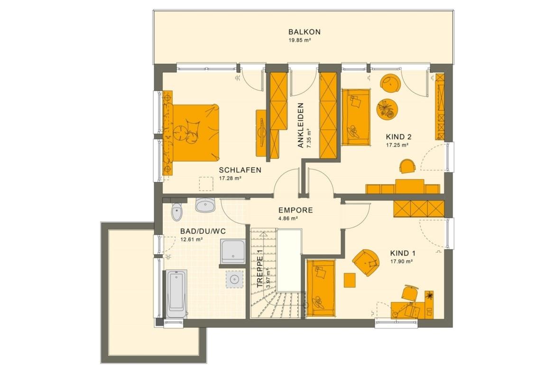 Grundriss Stadtvilla Obergeschoss mit Flachdach & Balkon, 5 Zimmer, 165 qm - Fertighaus SUNSHINE 165 V7 von Living Haus - HausbauDirekt.de