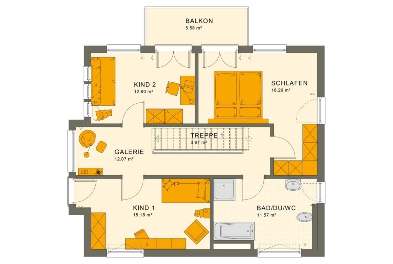 Grundriss Stadtvilla Obergeschoss mit Flachdach, Treppe gerade mit Galerie & Balkon, 5 Zimmer, 140 qm - Fertighaus Living Haus SUNSHINE 144 V7 - HausbauDirekt.de