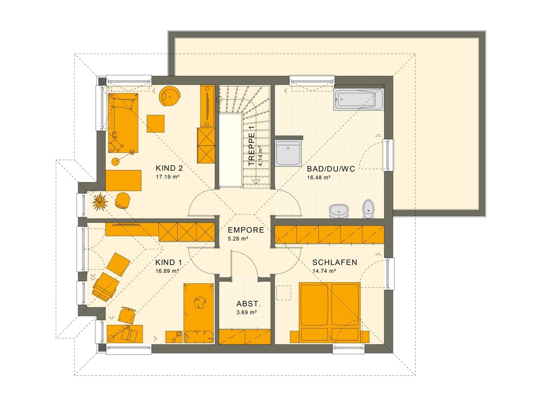 Fertighaus Stadtvilla Grundriss Obergeschoss mit Walmdach, 5 Zimmer, 150 qm - Living Haus SUNSHINE 151 V6 - HausbauDirekt.de