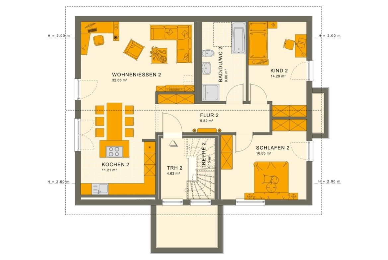 Zweifamilienhaus Grundriss Dachgeschoss modern mit Satteldach Architektur & Grundriss Wohnungen übereinander - Mehrgenerationenhaus bauen Ideen Fertighaus SOLUTION 204 V4 von Living Haus - HausbauDirekt.de