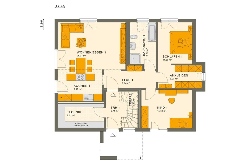 Zweifamilienhaus Grundriss Erdgeschoss mit gemeinsamen Treppenhaus & Grundriss Wohnungen übereinander - Mehrgenerationenhaus bauen Ideen Fertighaus SOLUTION 204 V4 von Living Haus - HausbauDirekt.de