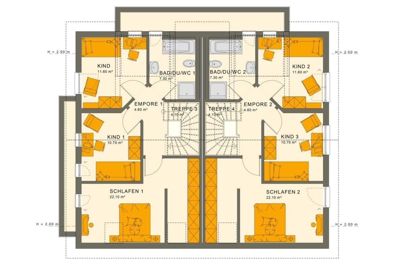 Grundriss Zweifamilienhaus Wohnungen nebeneinander mit Satteldach Architektur - Doppelhaus bauen Ideen Fertighaus SOLUTION 242 V4 von Living Haus - HausbauDirekt.de