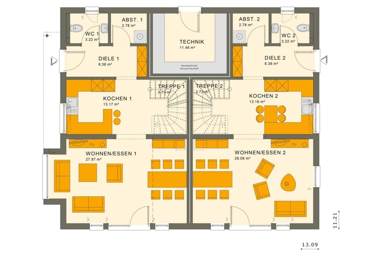 Zweifamilienhaus Grundriss nebeneinander Erdgeschoss, zwei Eingänge - Doppelhaus bauen Ideen Fertighaus SOLUTION 242 V3 von Living Haus - HausbauDirekt.de