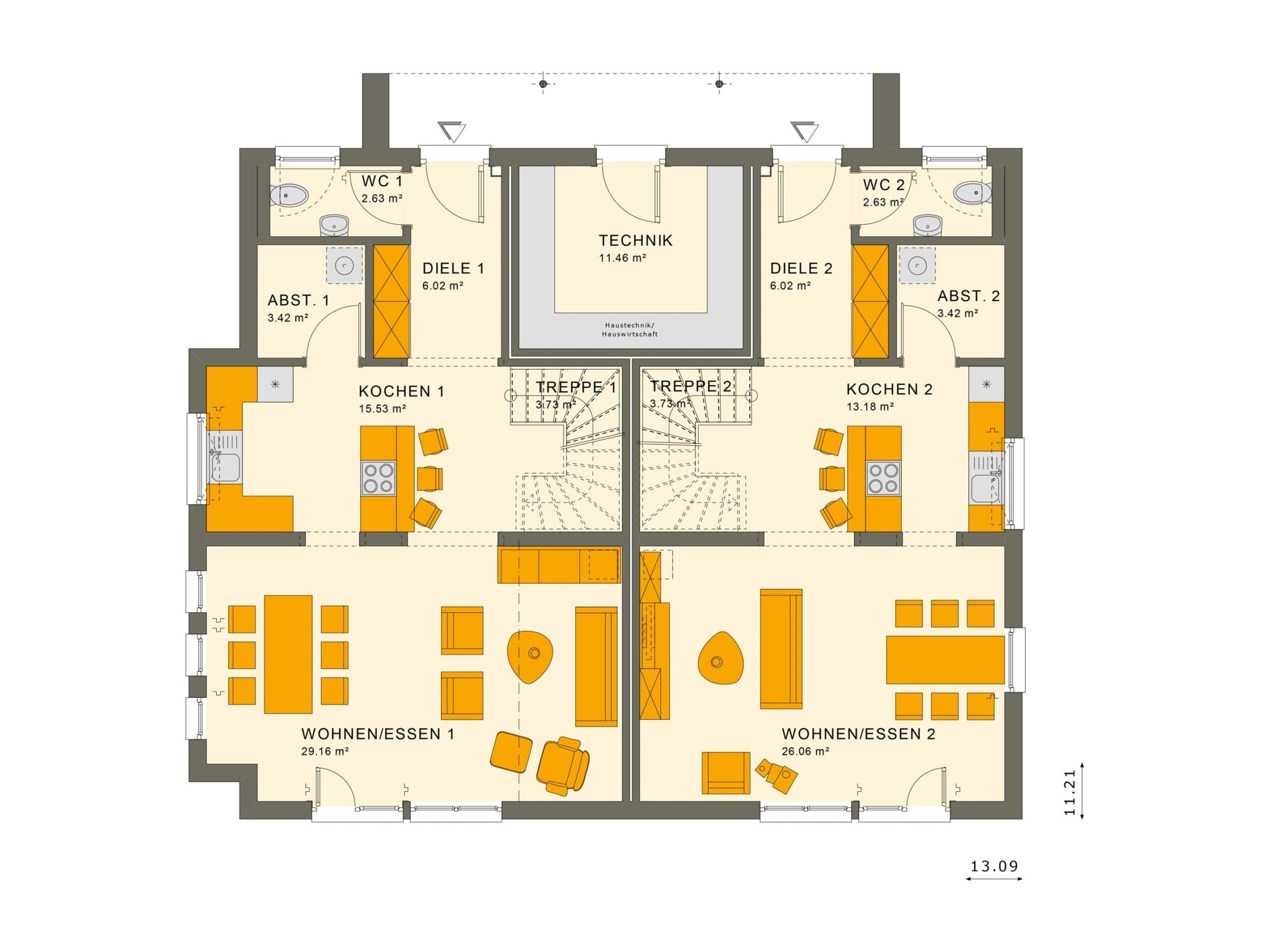 Grundriss Zweifamilienhaus Wohnungen nebeneinander Erdgeschoss - Doppelhaus bauen Ideen Fertighaus SOLUTION 242 V4 von Living Haus - HausbauDirekt.de
