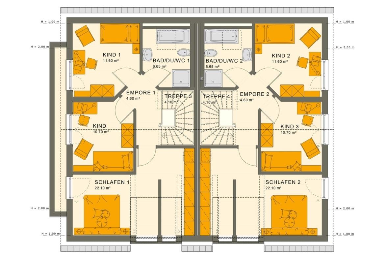 Zweifamilienhaus Grundriss nebeneinander Obergeschoss mit Satteldach Architektur - Doppelhaus bauen Ideen Fertighaus SOLUTION 242 V3 von Living Haus - HausbauDirekt.de