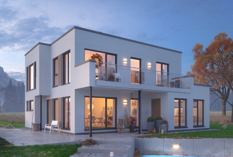 Haus Erker Flachdach Freisitz Balkon EVOLUTION 152 V2 Herbst Bien Zenker Fertighaus Einfamilienhaus