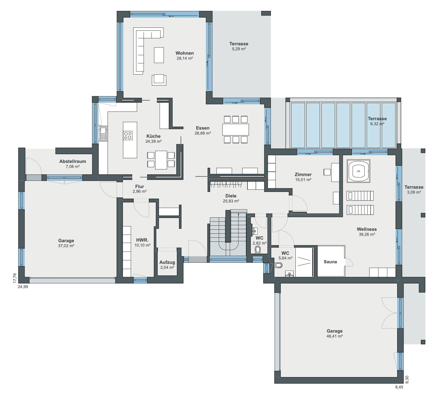 Einfamilienhaus Grundriss Erdgeschoss mit Garage - Haus Ideen Bauhaus Villa WeberHaus Fertighaus - HausbauDirekt.de