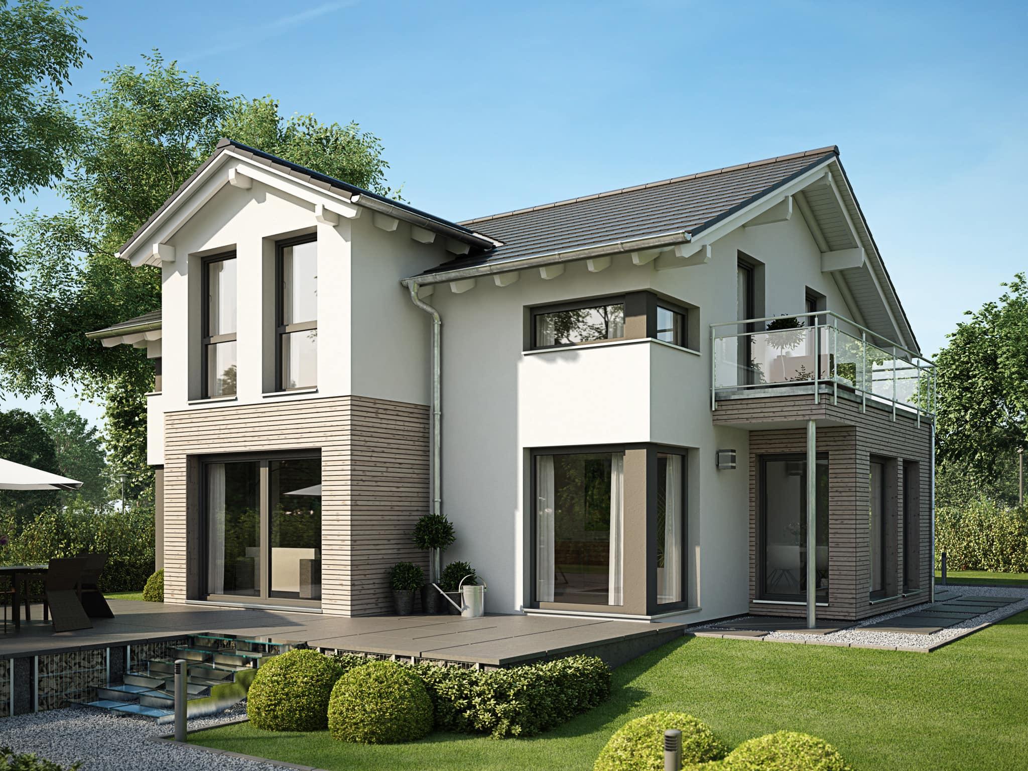 Einfamilienhaus mit Satteldach, Holz Putz Fassade & Giebel - Haus bauen Ideen EVOLUTION 154 V5 Bien Zenker Fertighaus - HausbauDirekt.de