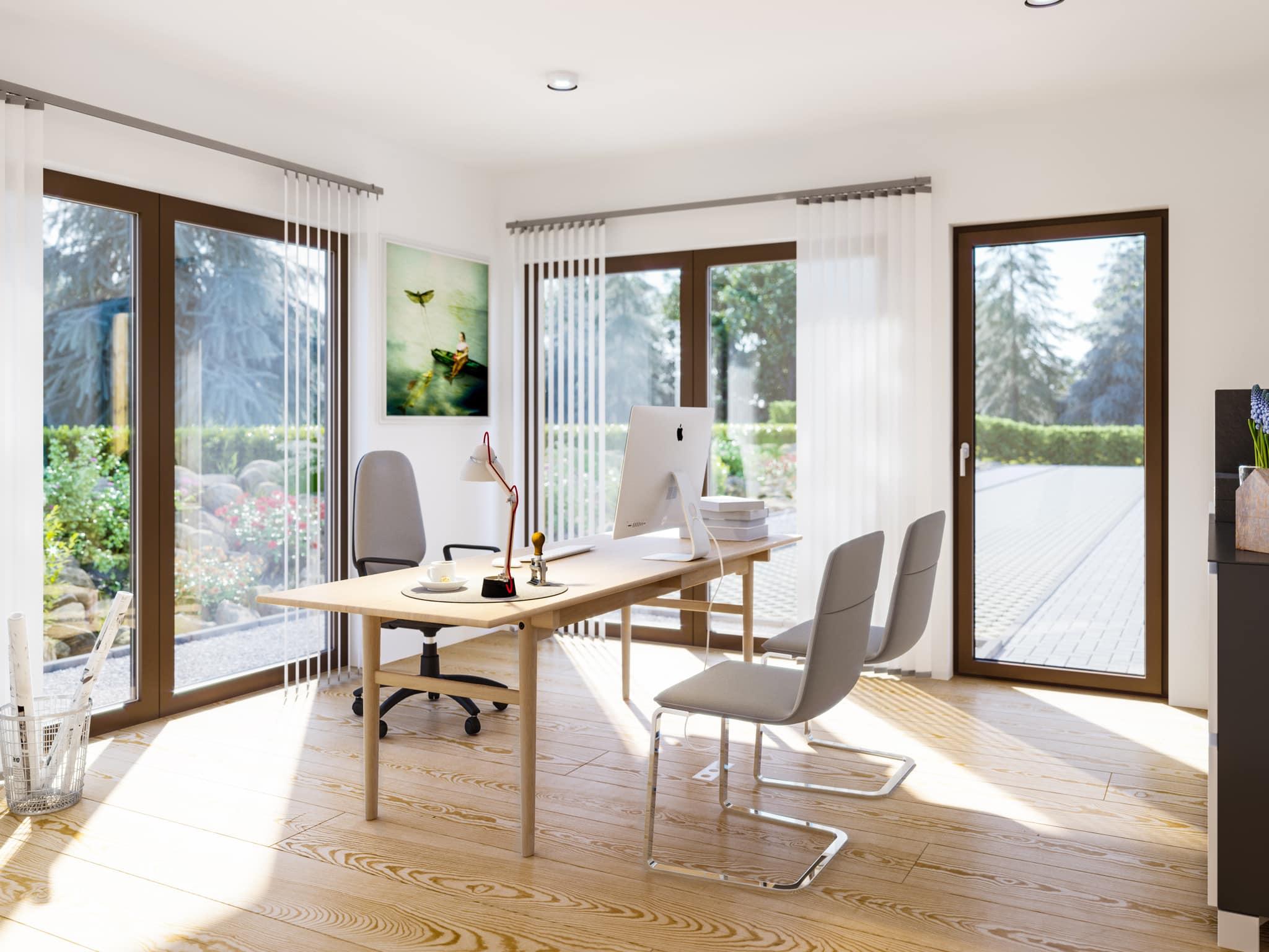 Home Office - Ideen Inneneinrichtung Fertighaus Living Haus SUNSHINE 144 V3 - HausbauDirekt.de