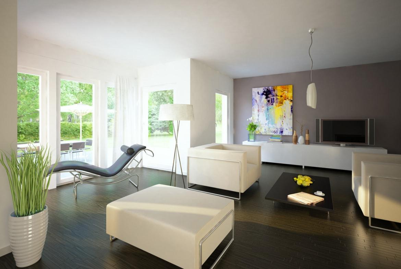 Wohnzimmer modern mit Erker - Haus Design innen Ideen Einrichtung EVOLUTION 154 V5 Bien Zenker Fertighaus - HausbauDirekt.de