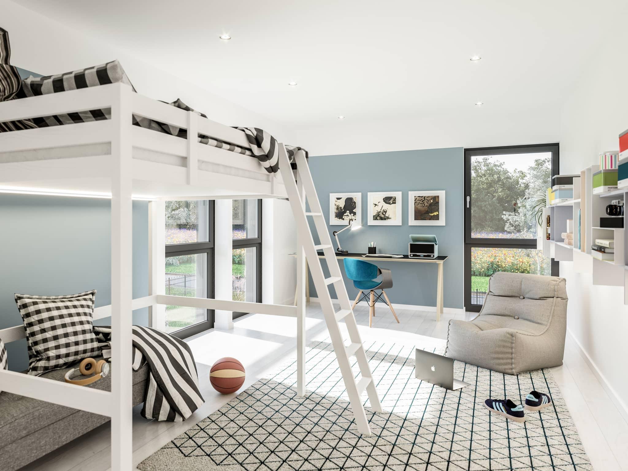 Jugendzimmer Ideen mit Hochbett - Doppelhaus Fertighaus Bien-Zenker CELEBRATION 139 V2 - HausbauDirekt.de