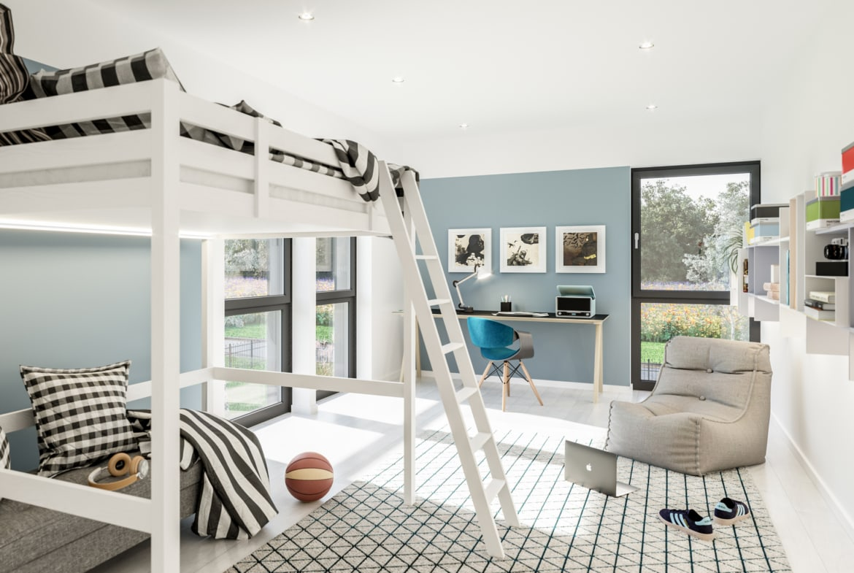 Jugendzimmer modern einrichten mit Hochbett - Ideen Inneneinrichtung Doppelhaus Fertighaus Bien-Zenker CELEBRATION 139 V6 - HausbauDirekt.de