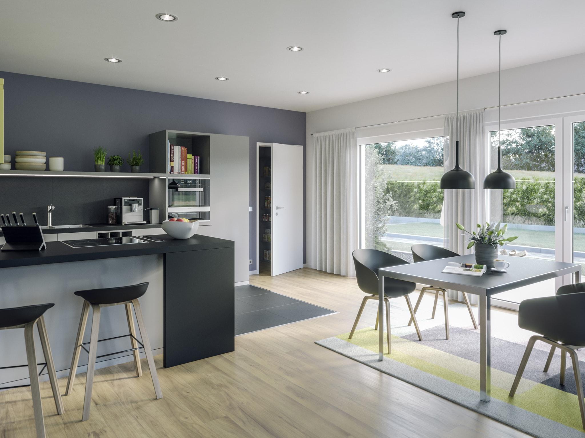 Küche & Esstisch Inneneinrichtung Ideen Bungalow AMBIENCE 88 V2 Bien Zenker Fertighaus - HausbauDirekt.de