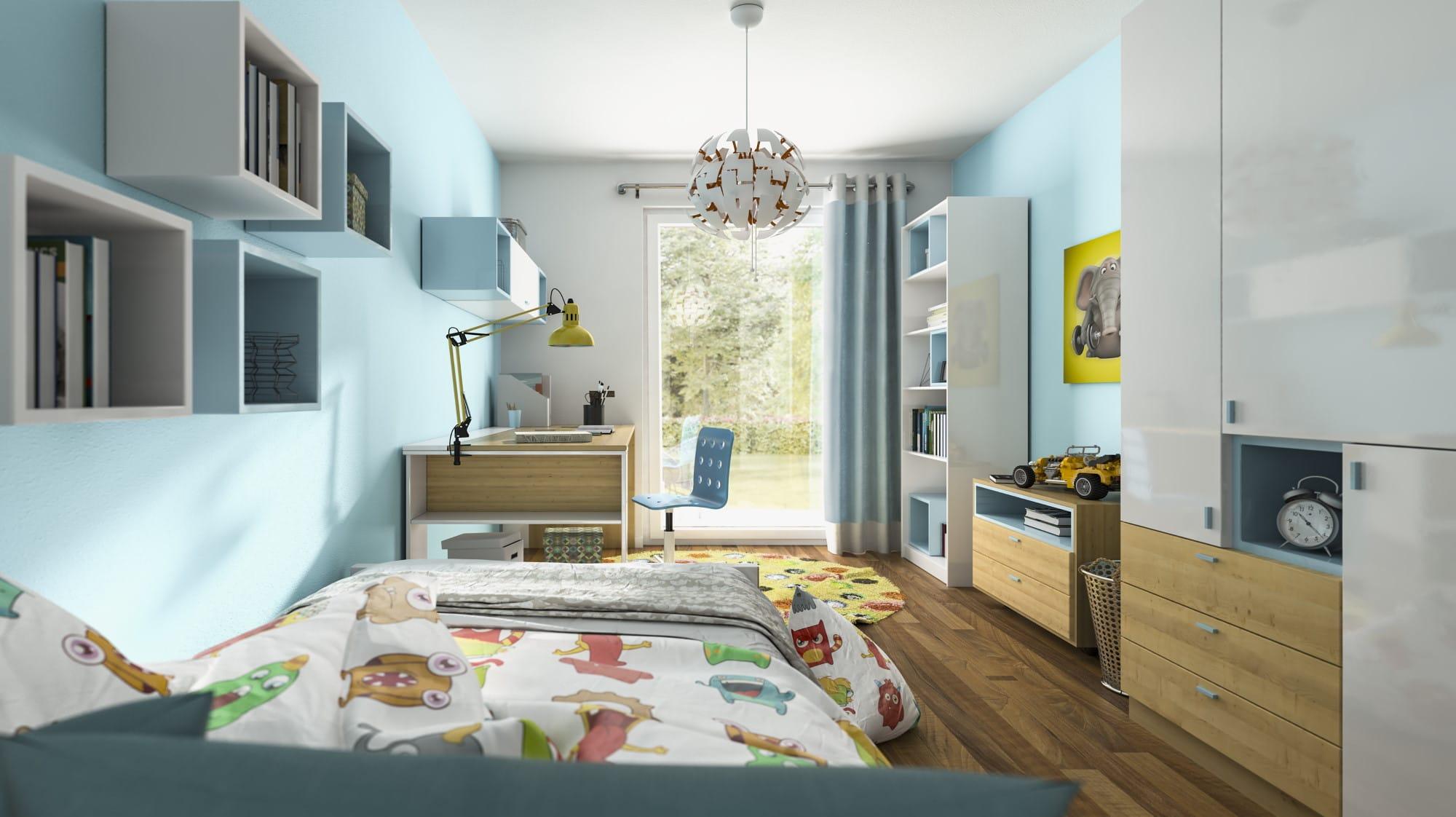 Kinderzimmer modern Wandgestaltung Farbe blau weiß Holz - Haus Design Ideen innen Town Country Haus Bungalow 131 - HausbauDirekt.de