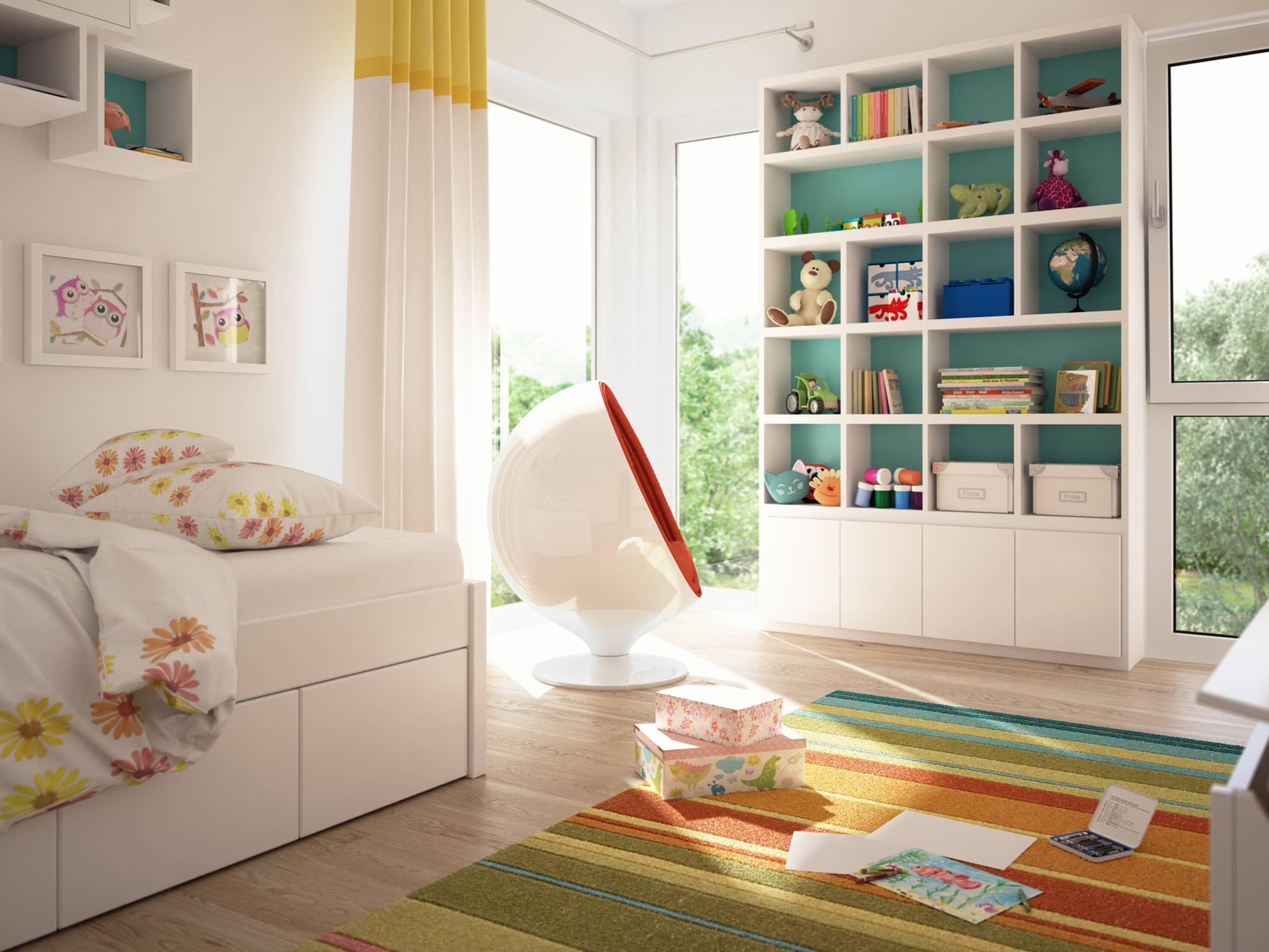 Kinderzimmer Einrichtung modern - Ideen Fertighaus Stadtvilla Living Haus SUNSHINE 126 V8 - HausbauDirekt.de