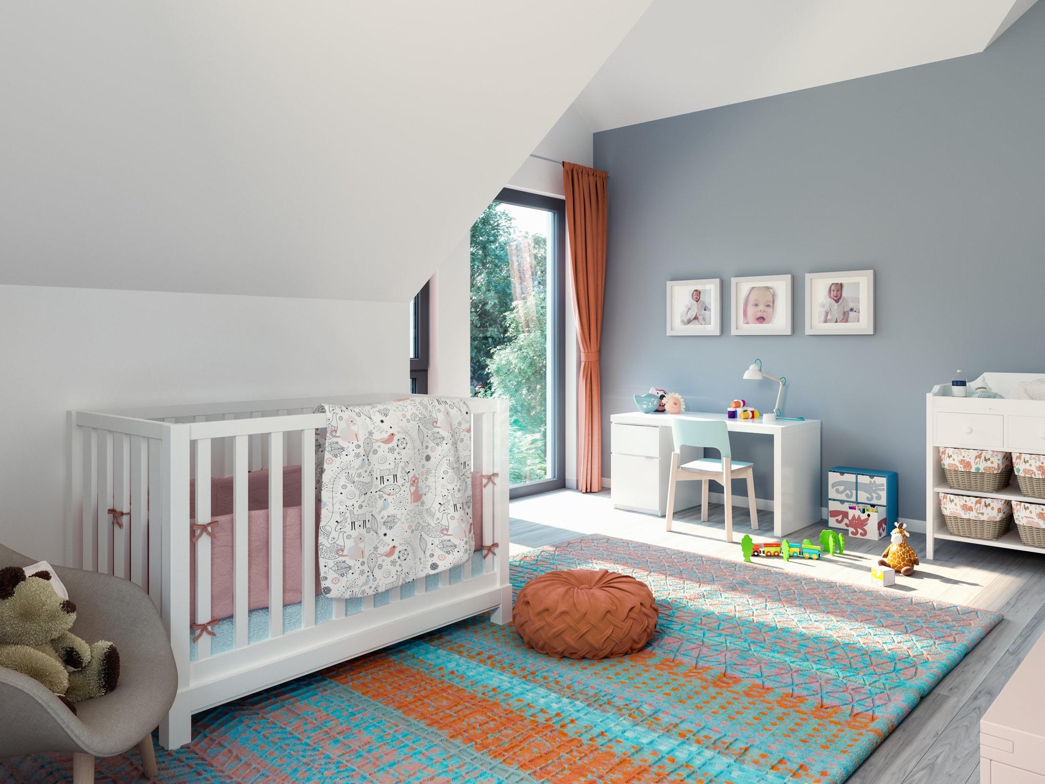 Kinderzimmer mit Dachschräge - Ideen Inneneinrichtung Fertighaus Living Haus SUNSHINE 144 V3 - HausbauDirekt.de