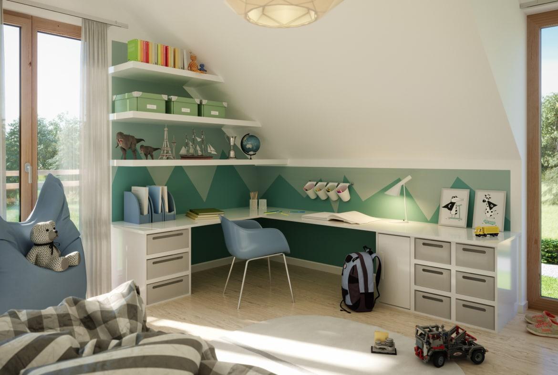 Kinderzimmer Schreibtisch Ecke modern - Ideen Inneneinrichtung Fertighaus Living Haus SUNSHINE 154 V2 - HausbauDirekt.de