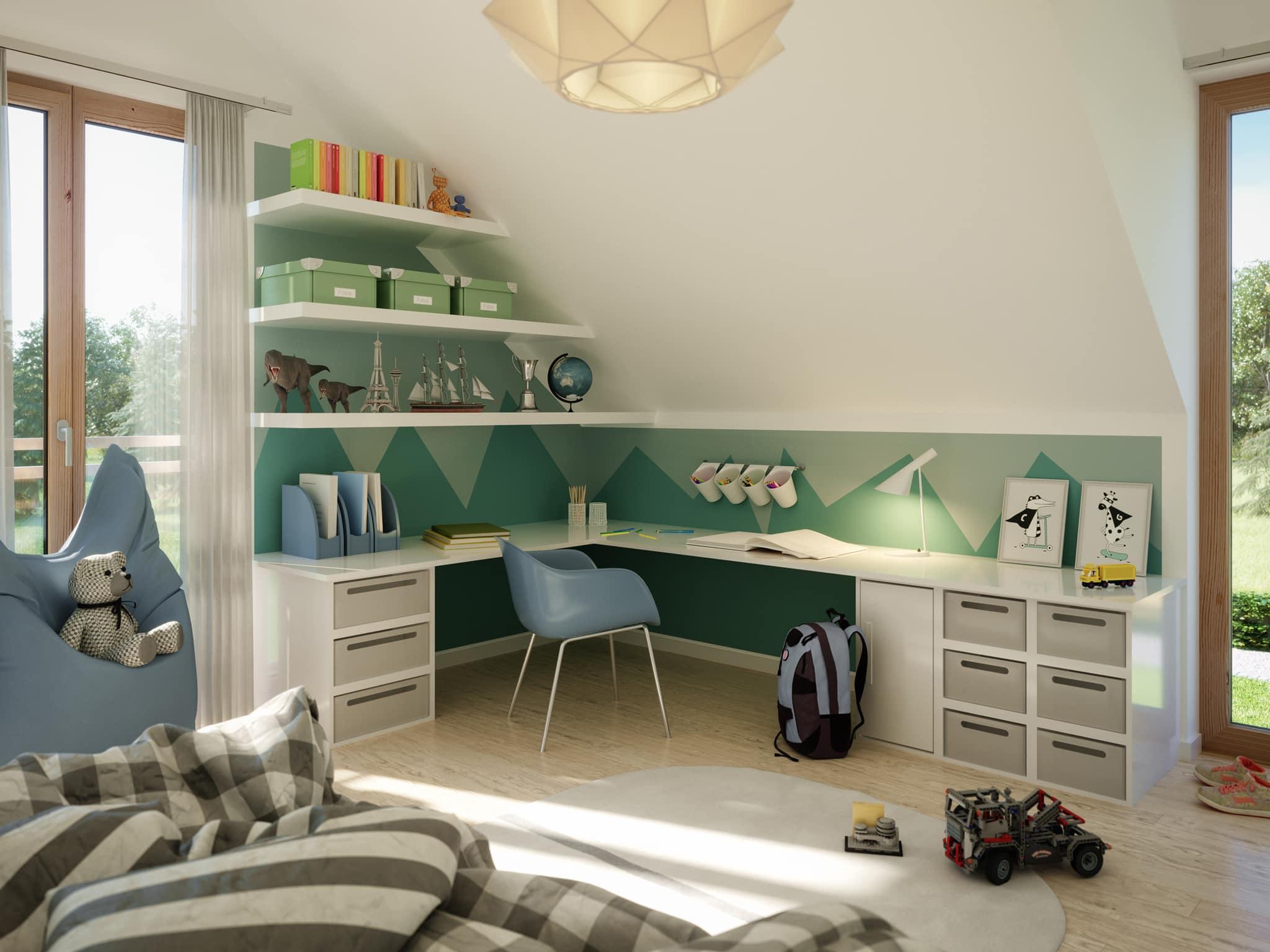 Kinderzimmer Ideen mit Schreibtisch unter Dachschäge - Inneneinrichtung Fertighaus Living Haus SUNSHINE 154 V3 - HausbauDirekt.de