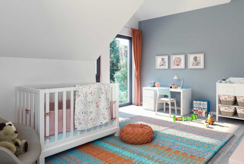 Kinderzimmer modern mit Dachschräge - Ideen Inneneinrichtung Fertighaus SUNSHINE 144 V5 Living Haus - HausbauDirekt.de
