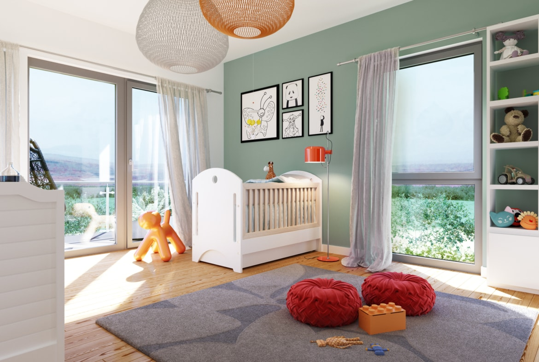 Kinderzimmer Ideen - Inneneinrichtung Fertighaus SUNSHINE 165 V3 von Living Haus - HausbauDirekt.de