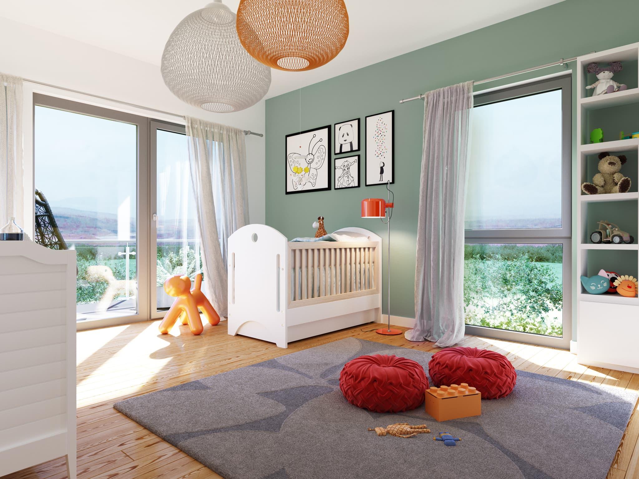 Kinderzimmer Ideen - Stadtvilla Inneneinrichtung Fertighaus SUNSHINE 165 V6 von Living Haus - HausbauDirekt.de