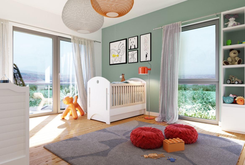 Kinderzimmer Ideen - Stadtvilla Inneneinrichtung Fertighaus SUNSHINE 165 V7 von Living Haus - HausbauDirekt.de
